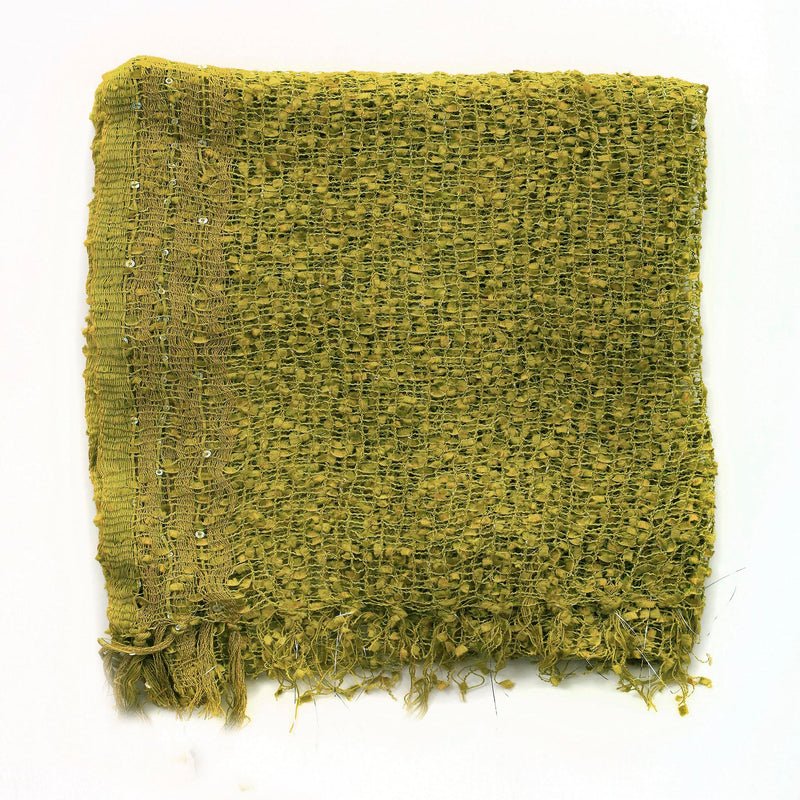 Women's Popcorn Ponchos - Chartreuse Gold Border Swatch - Spirit of Nepal - Fair Trade Fashion