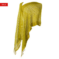 Women's Popcorn Ponchos - Chartreuse Gold Border - Spirit of Nepal - Fair Trade Fashion