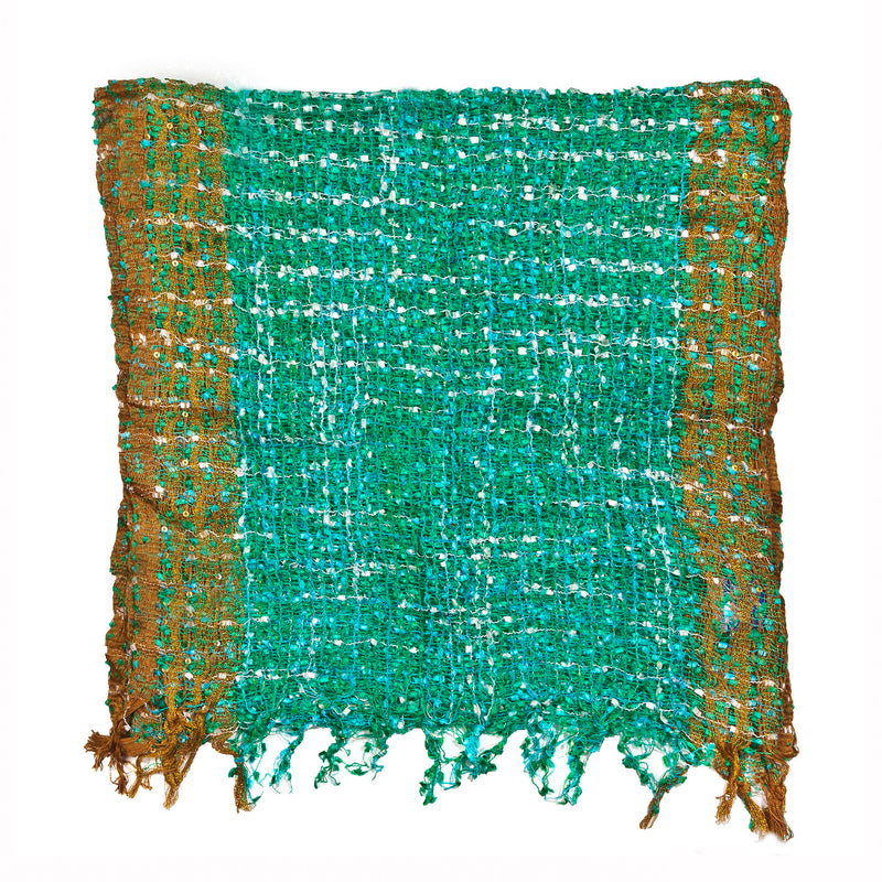 Women's Popcorn Ponchos - Green White Gold Border Swatch - Spirit of Nepal - Fair Trade Fashion