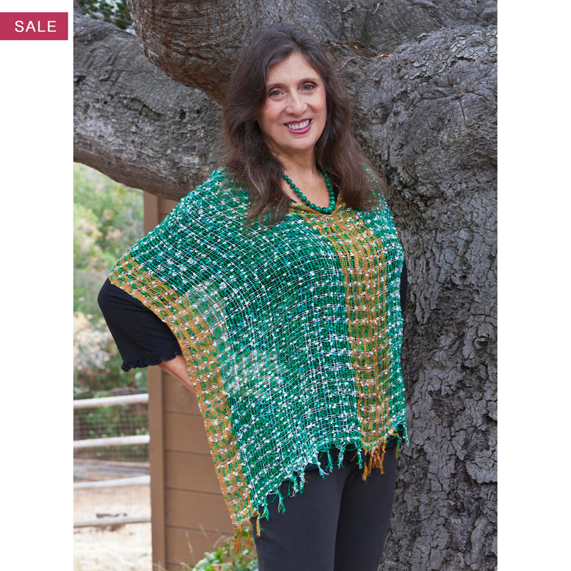 Women's Popcorn Ponchos - Green White Gold Border on sale - Spirit of Nepal - Fair Trade Fashion