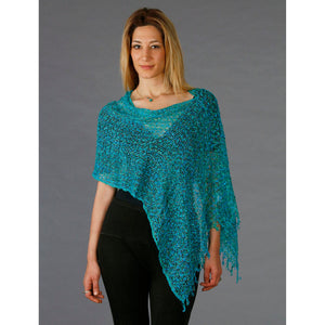 Women's Popcorn Ponchos - Ocean Sparkle - Spirit of Nepal - Fair Trade Fashion