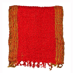 Women's Popcorn Ponchos - Red Gold Border Swatch - Spirit of Nepal - Fair Trade Fashion