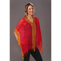 Women's Popcorn Ponchos - Red Gold Border - Spirit of Nepal - Fair Trade Fashion