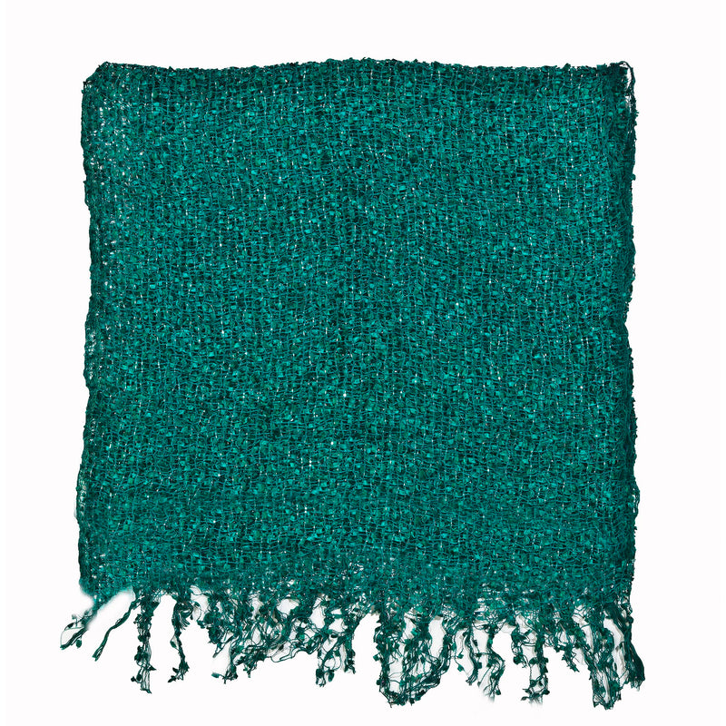 Women's Popcorn Ponchos - Sea Green Sparkle Swatch - Spirit of Nepal - Fair Trade Fashion