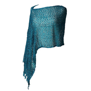 Women's Popcorn Ponchos - Sea Green Sparkle - Spirit of Nepal - Fair Trade Fashion