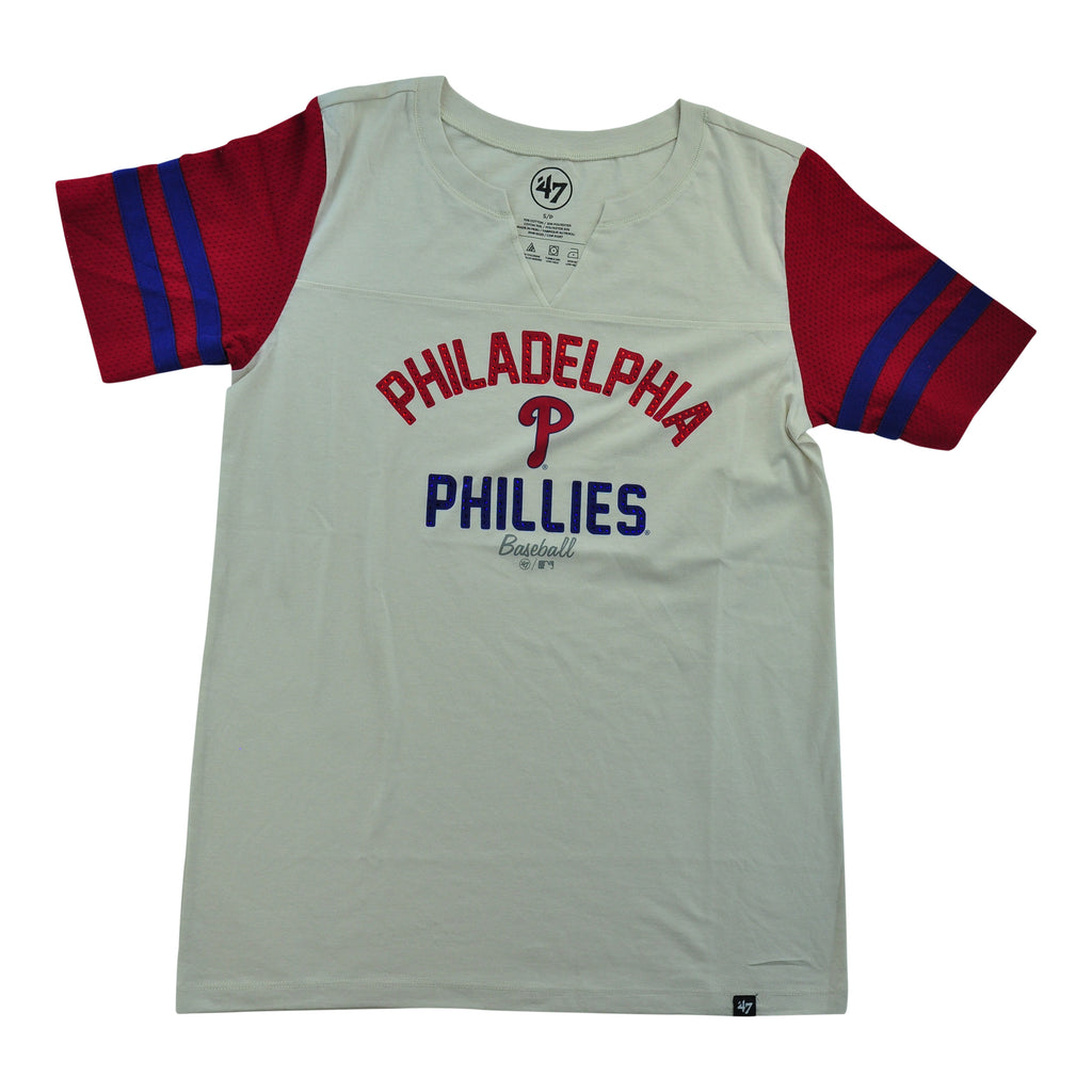 Phillies All City Sleeve Striped Tee Ladies
