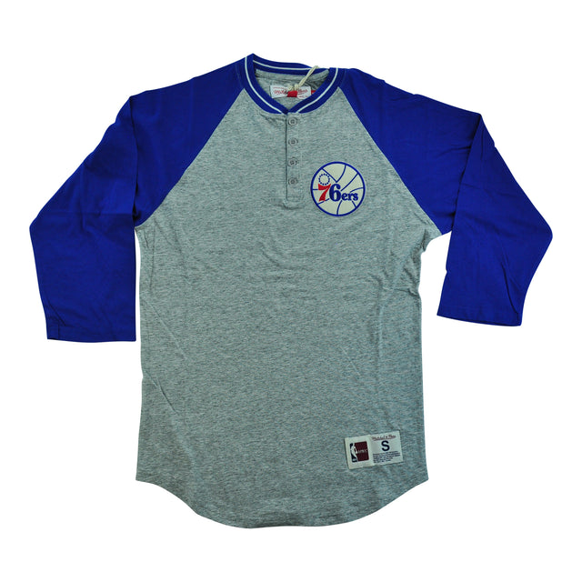 Sixers 4 Button Henley Gray/Blue
