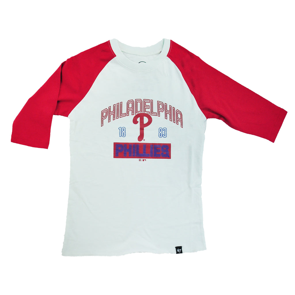 Phillies White Wash Super Rival Raglan Kids Tee