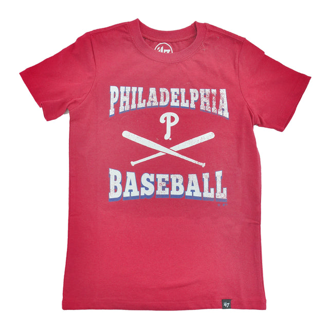 Phillies Red Batter Up Super Rival Kids Tee