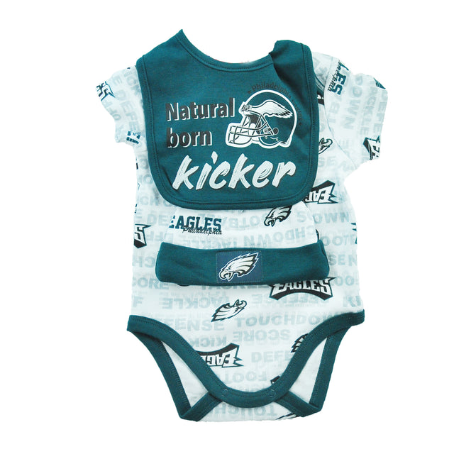 Natural Kicker Bib, Cap, Onesie