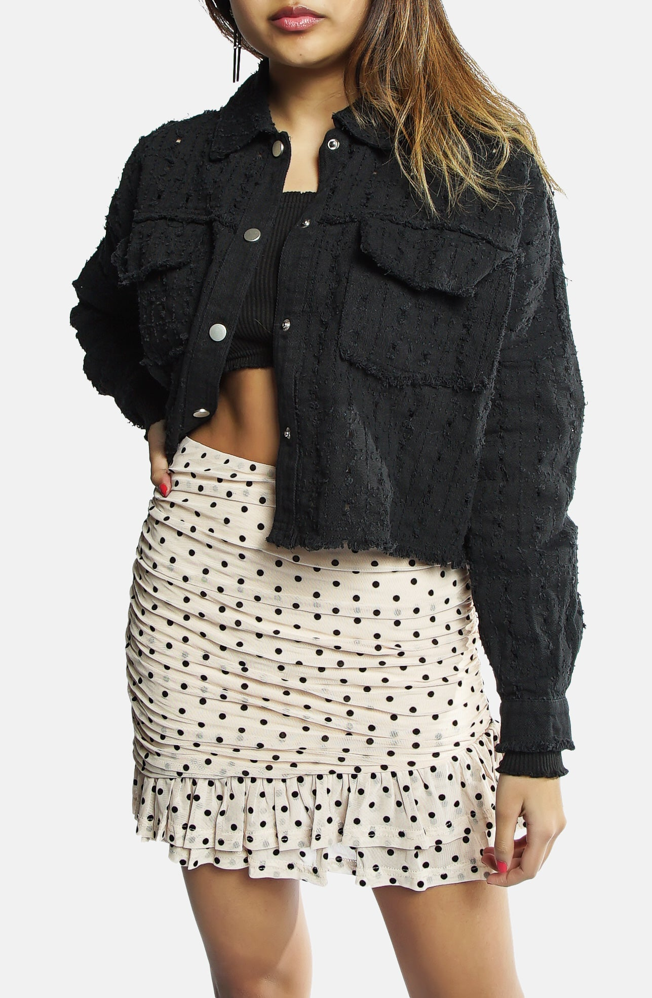 Tina Etched Black Denim Jacket