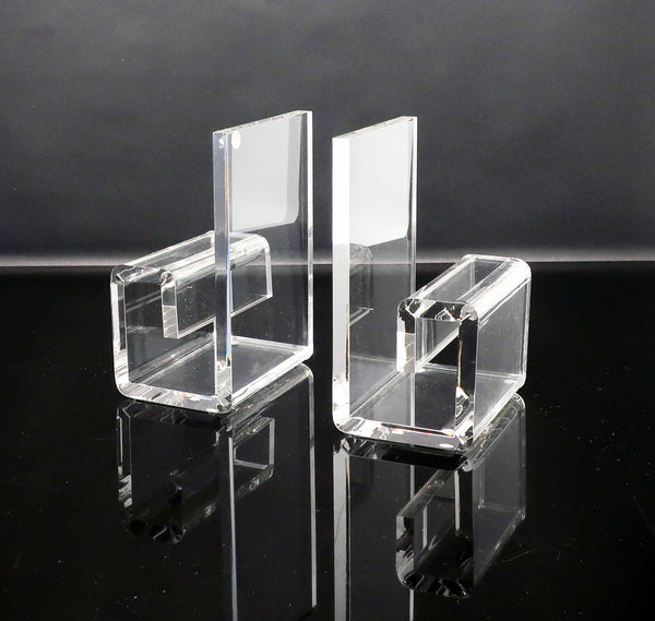 Vintage Rialto Geometric Lucite Bookends
