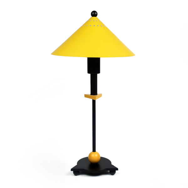 1980s Postmodern Black and Yellow Table Lamp