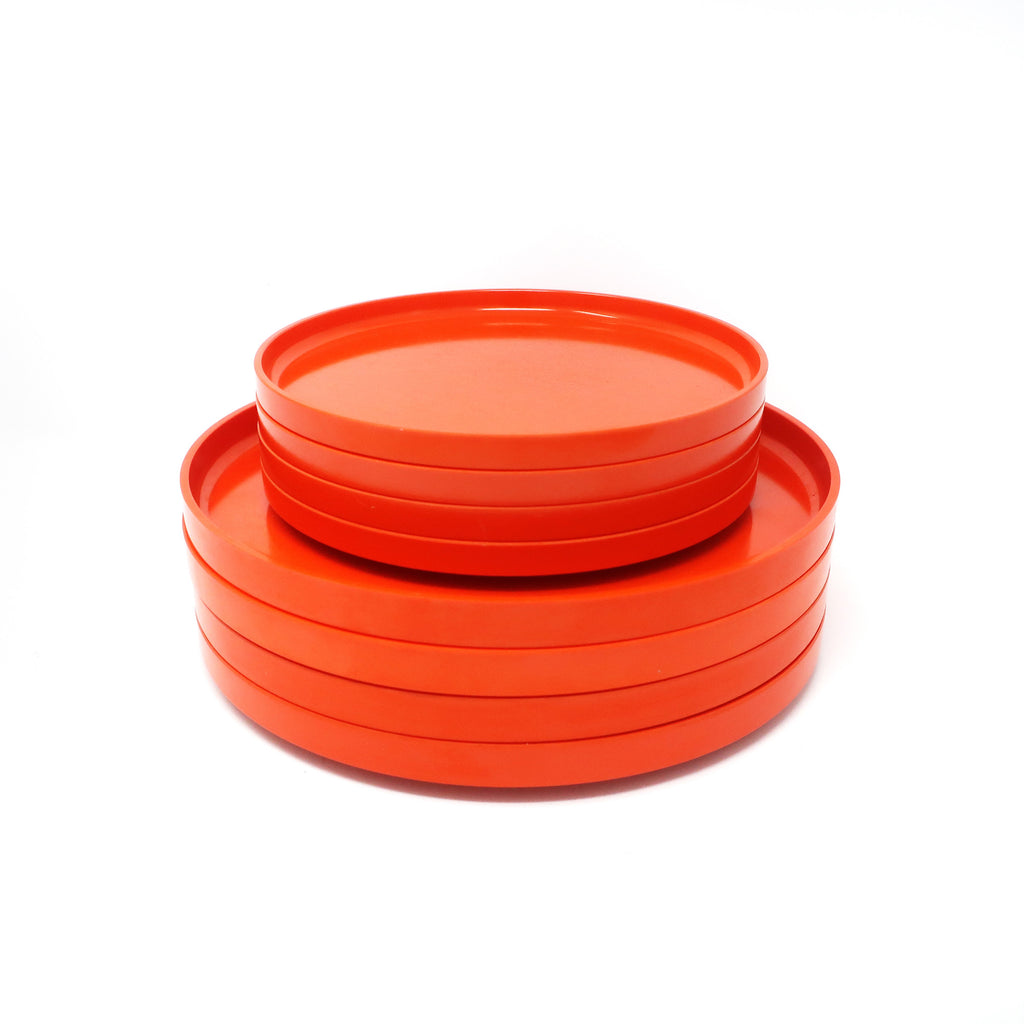 Orange Massimo Vignelli for Heller Dinnerware - Set of Four Dinner Plates + Four Salad Plates