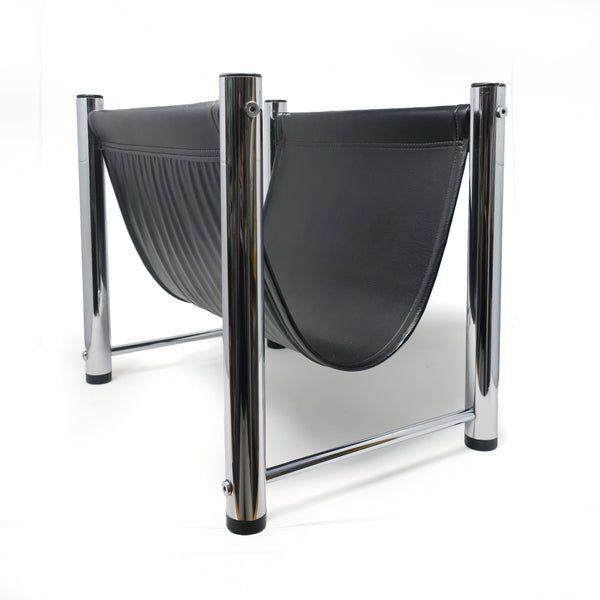 Mid-Century Modern Chrome and Vinyl Magazine Rack