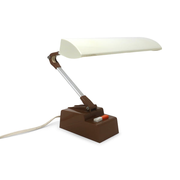 Mid-Century Brown & White Mustang Lite Desk Lamp