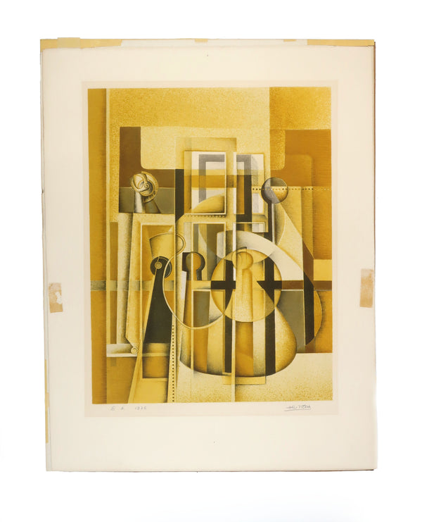 1970s Abstract Cubist Print