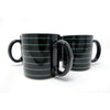 Set of Four Vintage Black and Green Striped Mugs