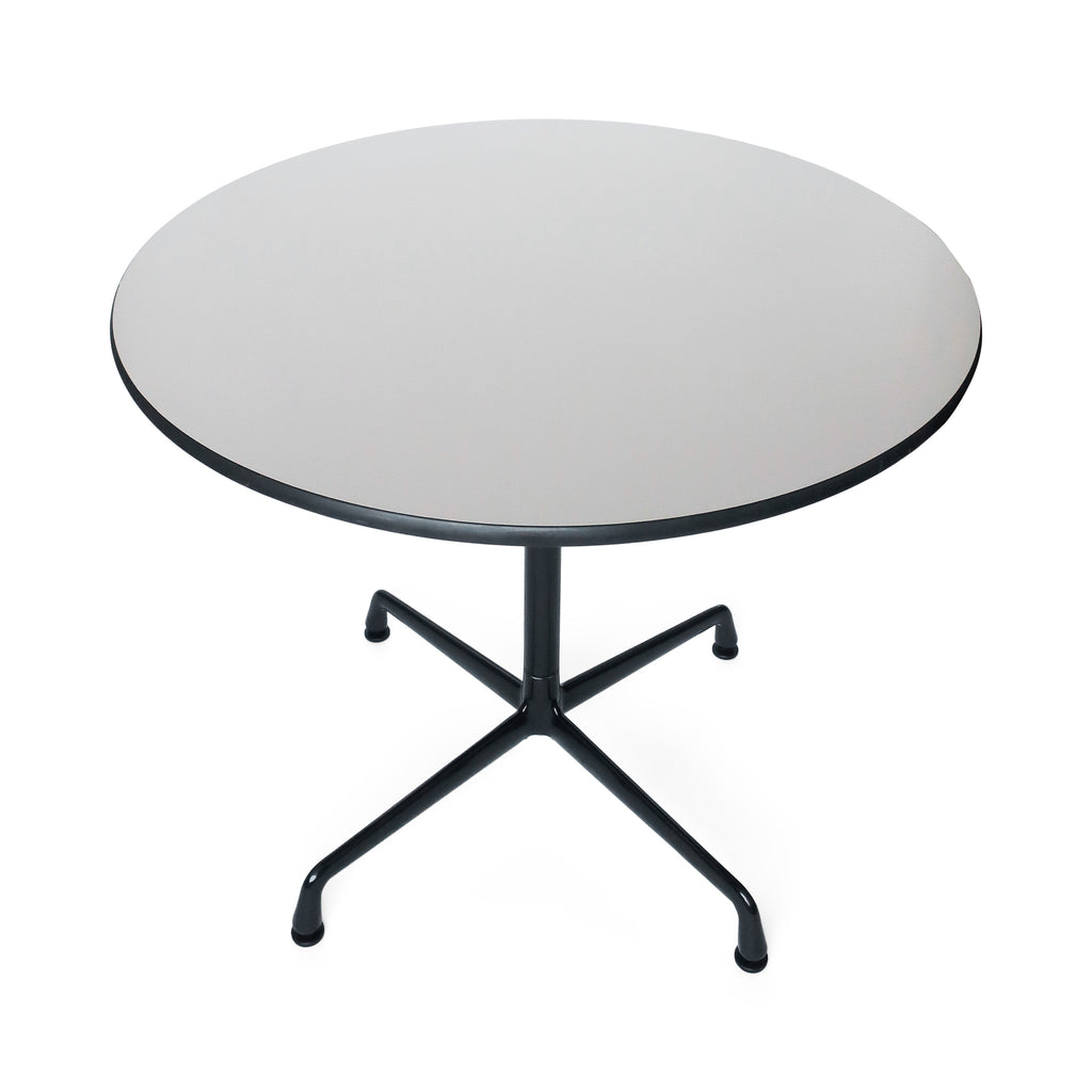 Tan & Black Eames Aluminum Group Table for Herman Miller