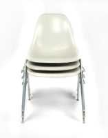 White Eames Stacking Chairs for Herman Miller - Set of Three
