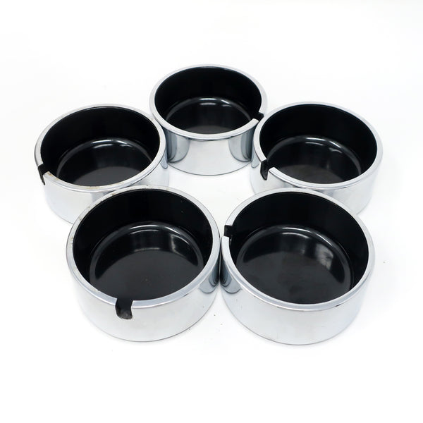 Set of 5 Isamu Kenmochi Black and Chrome Ashtrays
