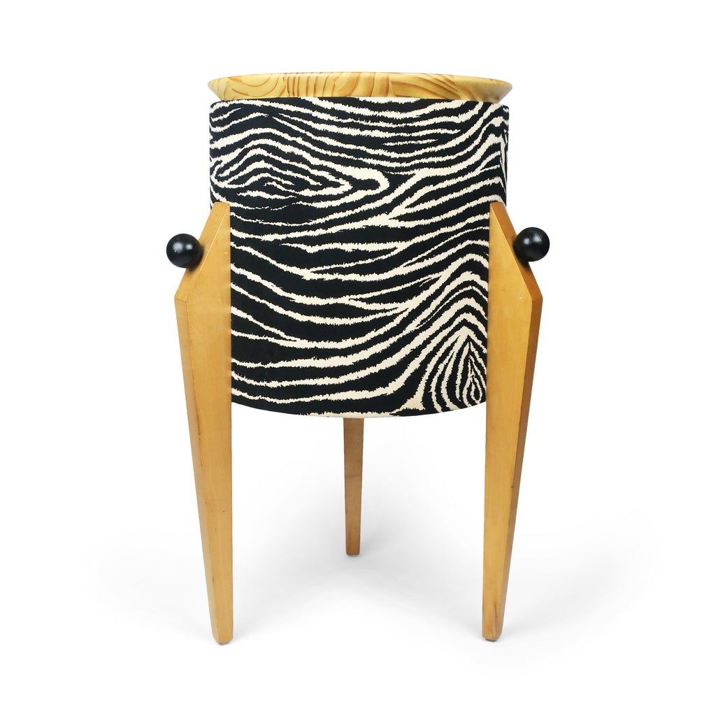 Postmodern Zebra Tripod Side Table