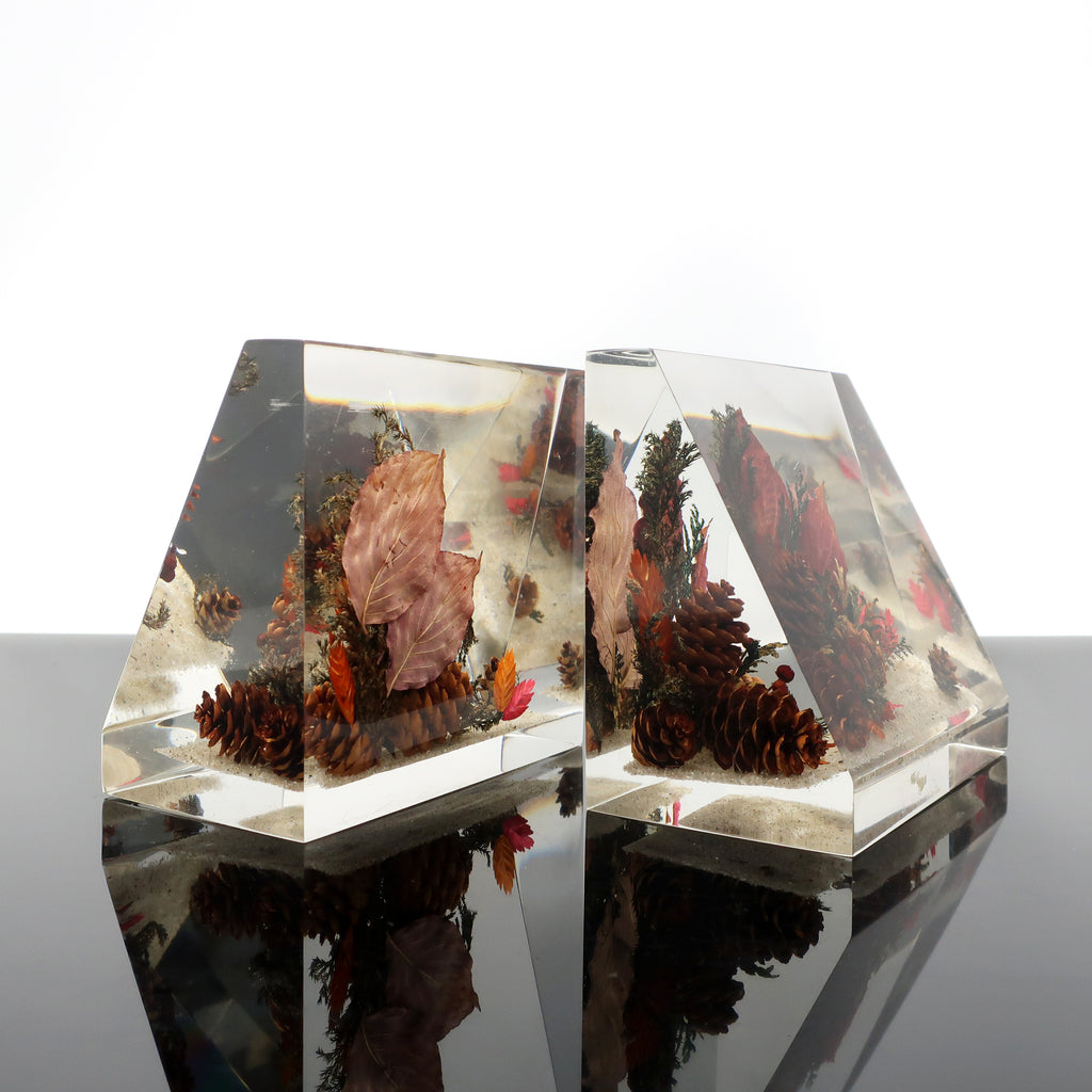 Vintage Clearfloat Lucite Bookends