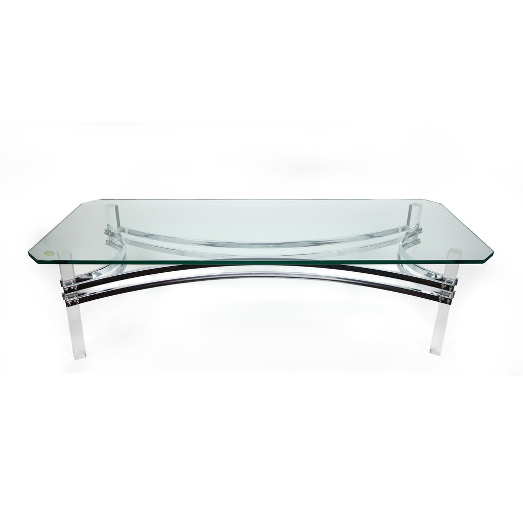 1970s Lucite, Chrome and Glass Coffee Table in the Style of Charles Hollis Jones