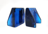 Blue Cast Glass Bookends by Wayne Husted for Blenko