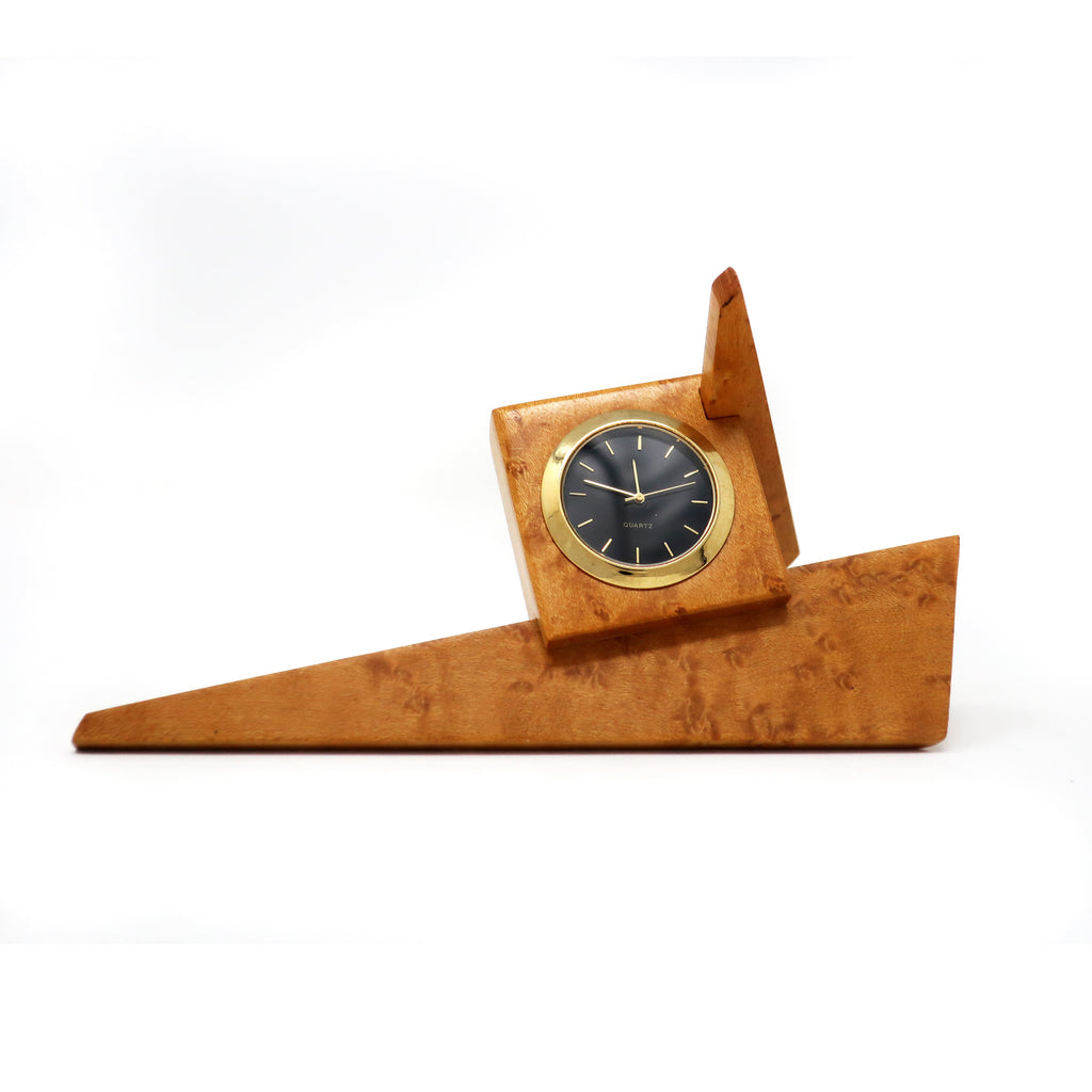 1980s Angular Burl Wood Desk Clock