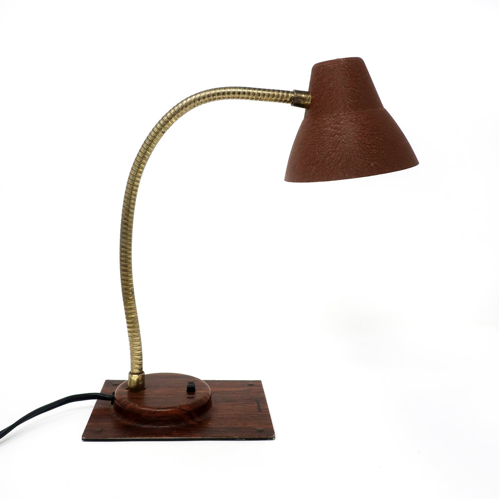 Vintage Brown Tensor Gooseneck Desk Lamp