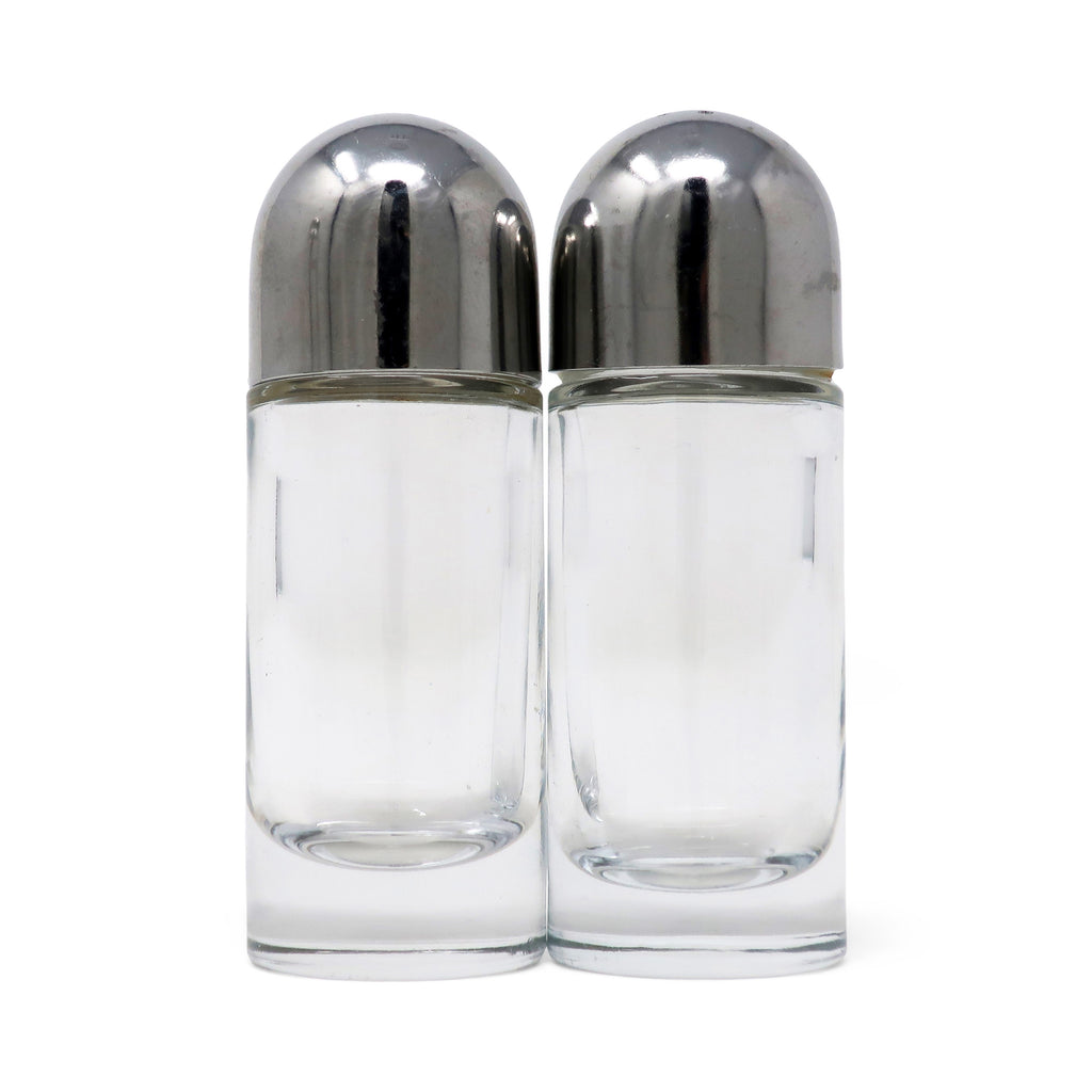 Pair of Stainless Steel and Glass Salt and Pepper Shakers by Ettore Sottsass for Alessi