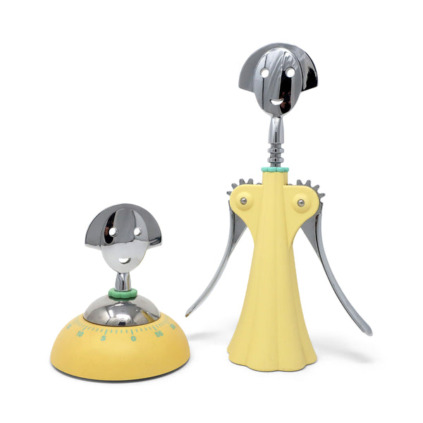 Yellow Anna G Corkscrew and Timer by Alessandro Mendini for Alessi