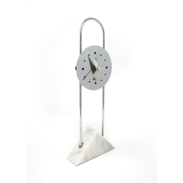 Vintage Post Modern Canetti Chrome and Marble Clock (1989)