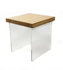 1970s Lucite and Wood Laminate Side Table