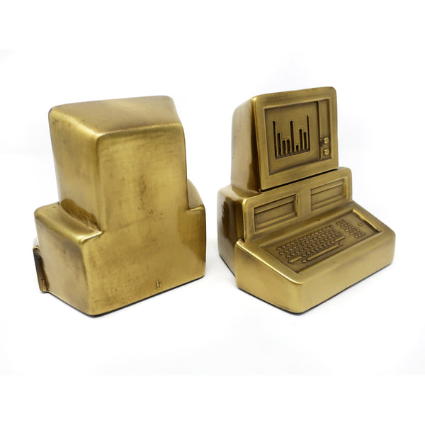 Pair of 1980s Brass Computer Bookends