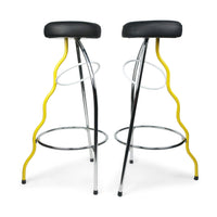 Pair of Yellow Duplex Bar Stools by Javier Mariscal for BD Barcelona