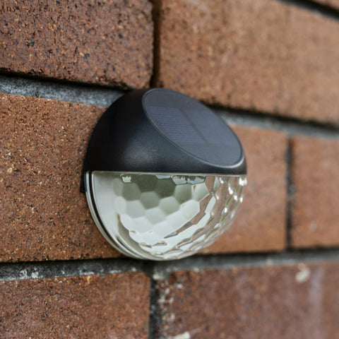 Decorative Round Solar Wall Light 1LED - 2 Pack