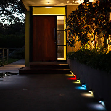 Colour Change Solar Wall Light 5LED - 4 Pack