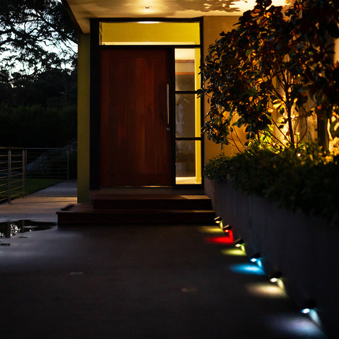 Colour Change Solar Wall Light 5LED - 2 Pack
