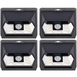 Wide Angle Solar Wall Light with Sensor 18LED - 4 Pack