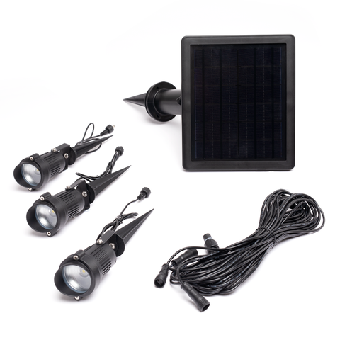 Warm White Solar Garden Spotlights with 3 Adjustable Heads 1LED