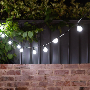 Cool White Solar Party Bulb String Lights - 25 Bulb Starter Set