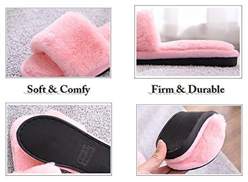 Womens Fuzzy Fluffy Furry Fur Slippers Flip Flop Open Toe Cozy House Sandals Slides Soft Flat Comfy Anti-Slip Spa Indoor Outdoor Slip on