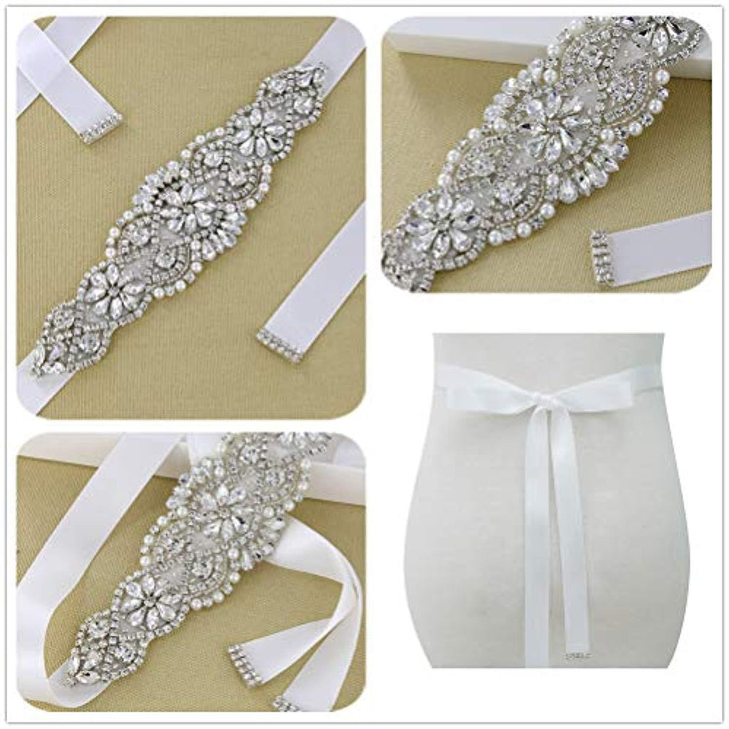 QueenDream Crystal Belt White Satin Bridal Sash Wedding Belt for Bride and Bridesmaid