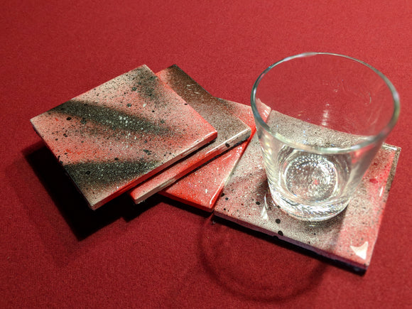 'Galaxy Red and Black' Handmade Coaster Sets