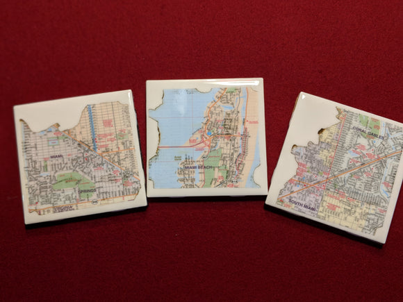 'Blazed Miami' Handmade Coaster Sets