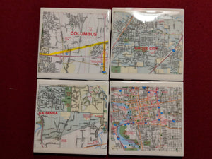 'Ohio Map' Handmade Coaster Set