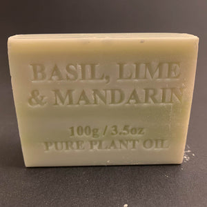 100g Pure Natural Plant Oil Soap - Basil, Lime and Mandarin