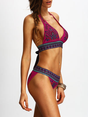 Halter Tribal Print Bikini Set
